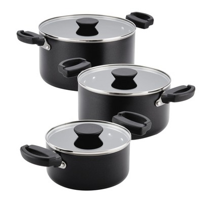 Farberware Neat Nest 6pc Nesting & Stacking Aluminum Nonstick Saucepot Set Black
