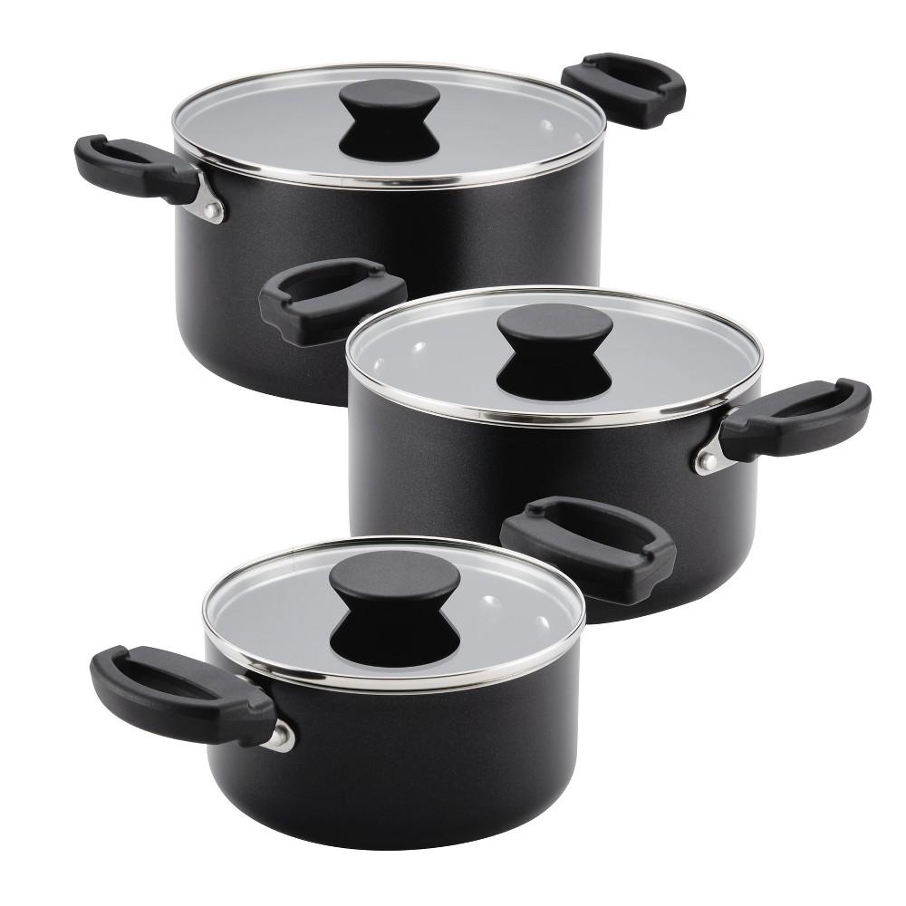 Image of Farberware Neat Nest 6pc Nesting & Stacking Aluminum Nonstick Saucepot Set Black