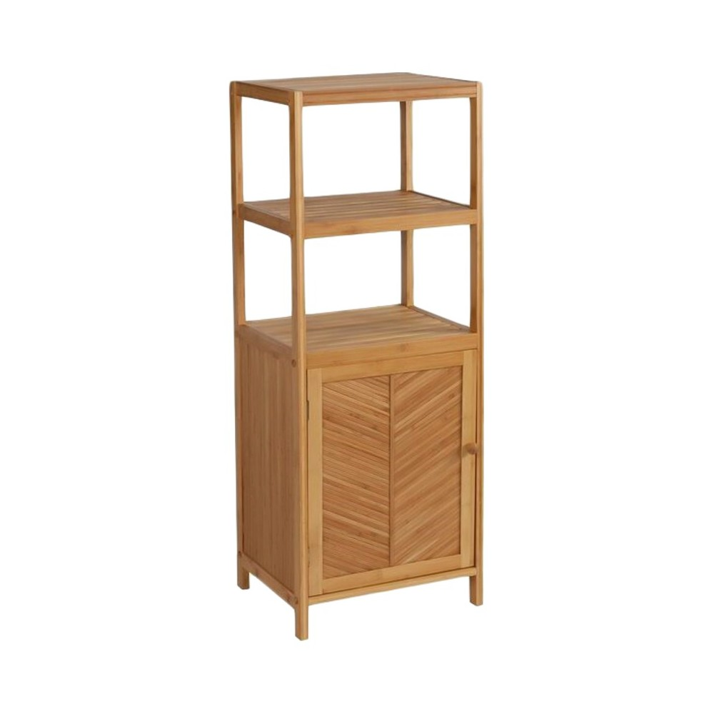 Image of 3 Shelf tower with cabinet Light Brown Bamboo - Eco Styles