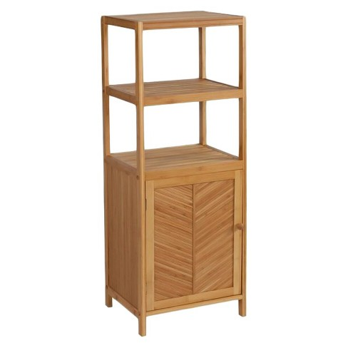 3 Shelf tower with cabinet Light Brown Bamboo - Eco Styles : Target