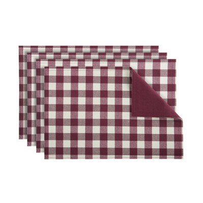 Kate Aurora 4 Pack Gingham Plaid Checkered Reversible Country Farmhouse Placemats
