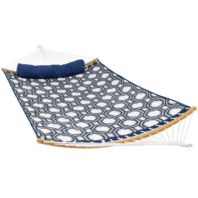 Quilted Hammock with Curved Bamboo Spreader Bars - Navy and Gray Tiled Octagon - Sunnydaze Decor