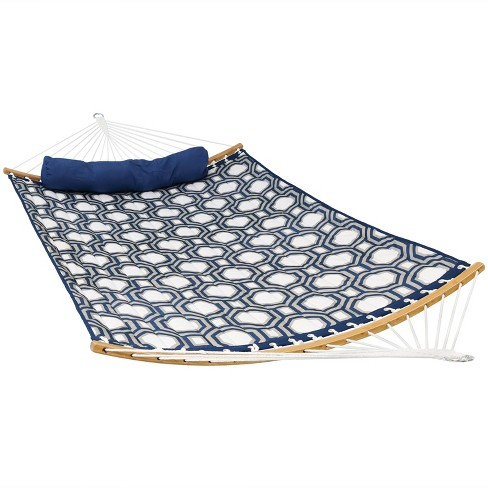 Quilted Hammock with Curved Bamboo Spreader Bars - Navy and Gray Tiled Octagon - Sunnydaze Decor - image 1 of 4