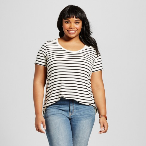 d83139cdec7 Women s Plus Size Striped Perfect T-Shirt - Ava   Viv™   Target