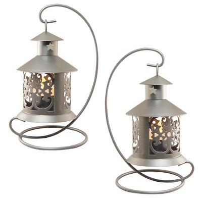 2ct Metal Tabletop Lanterns Silver