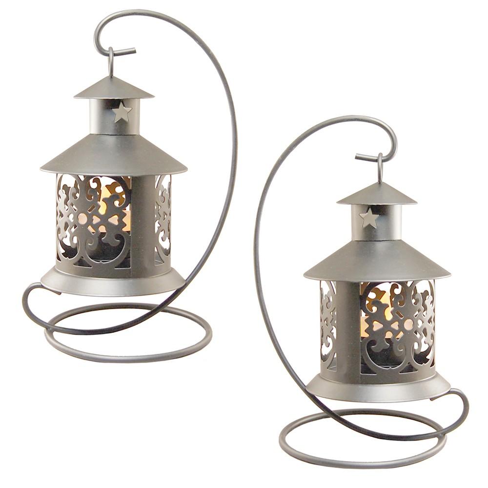 Image of 2ct Metal Tabletop Lanterns Silver