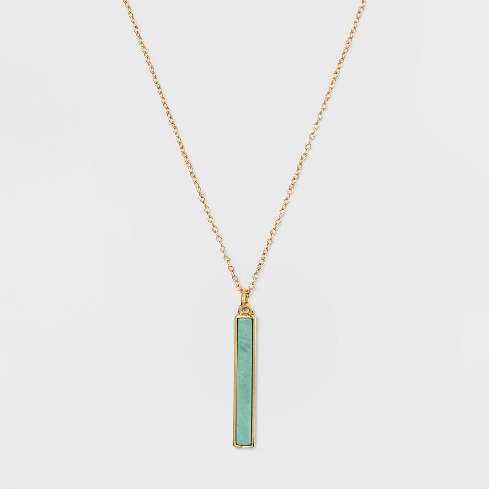 Silver Plated Stone Bar Necklace - A New Day Green/Gold, Girl's