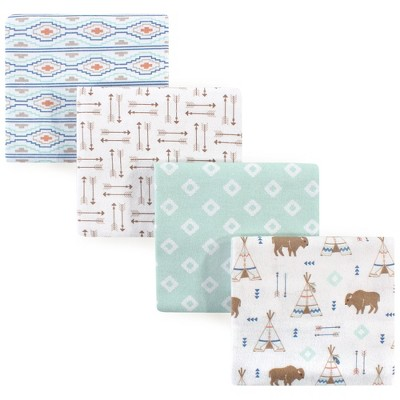 Hudson Baby Infant Boy Cotton Flannel Receiving Blankets, Teepee, One Size