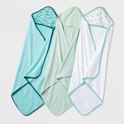 Baby Boys' Basic Muslin Hooded Towel - Cloud Island™ Mint/Aqua/White