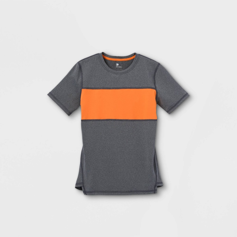 Boys 39 Short Sleeve Chest Striped T Shirt All In Motion 8482 Gray Orange S