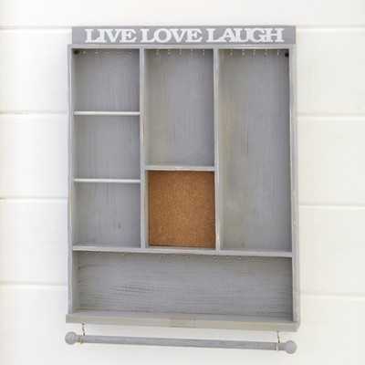 Lakeside Wall Hanging Jewelry Organizer with Live Laugh Love Sentiment