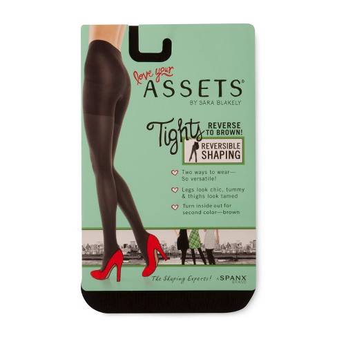 63990a9816 Assets By Spanx Brand Women s Reversible Tights - Black Gray   Target