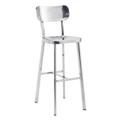 "29.5"" Classic Modern Barstool Stainless Steel - ZM Home"