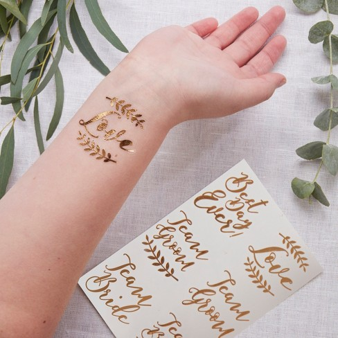12ct Temporary Wedding Tattoos Rose Gold