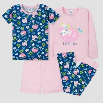 Gerber Baby Girls' 4pc Sloths Long Sleeve Pajama Set - Pink/Blue 18M
