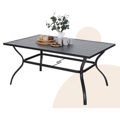 Outdoor Rectangle Slat Table - Black - Captiva Designs