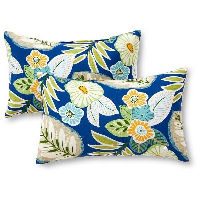 Set of 2 Marlow Floral Outdoor Rectangle Throw Pillows - Kensington Garden