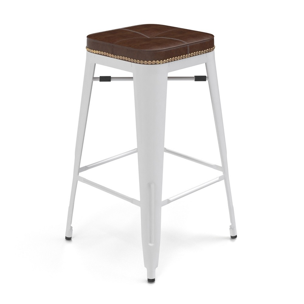 27 Griffin Backless Counter Stool Set of 2 White - Aeon