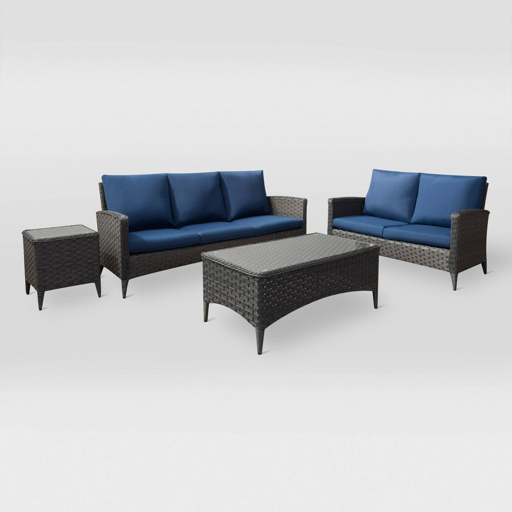 Parkview 4pc Sofa and Loveseat Patio Set - Navy (Blue) - CorLiving