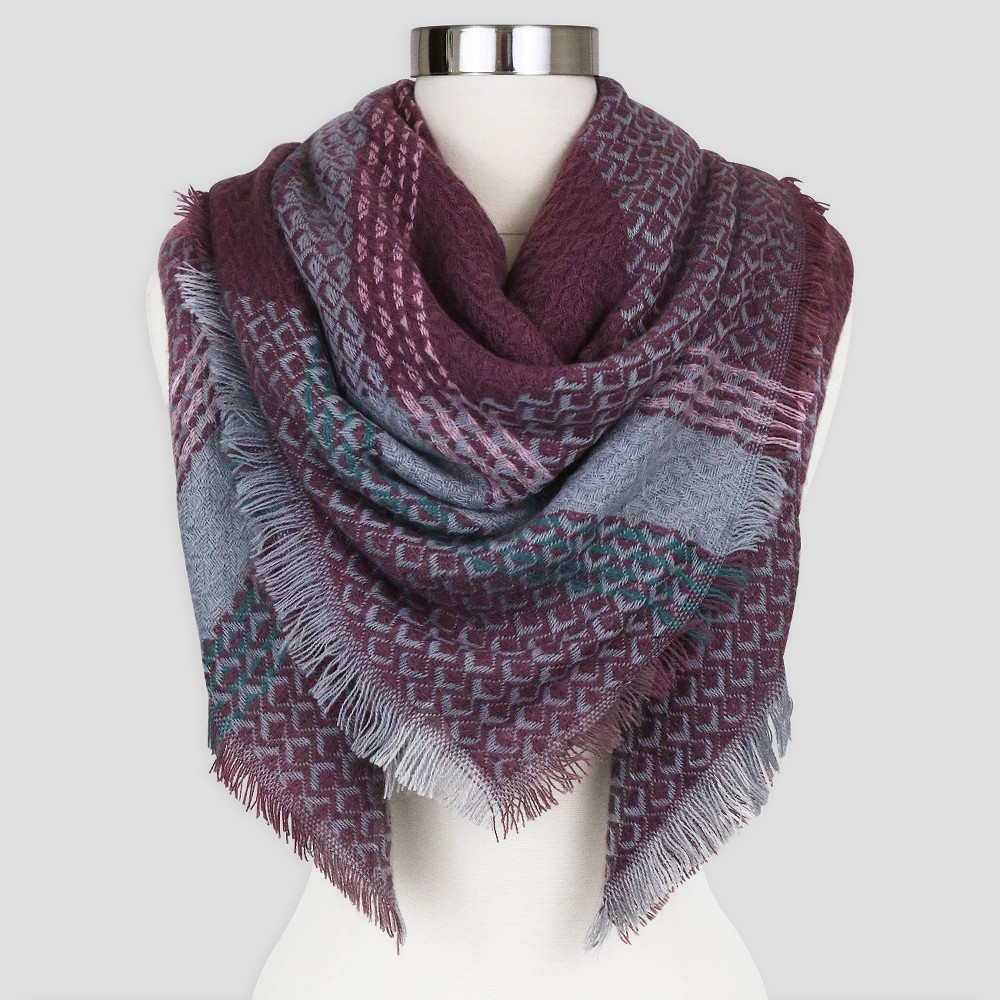 Sylvia Alexander Plaid Blanket Scarf - Mauve (Pink)