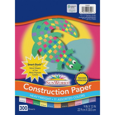 Sunworks Heavyweight Construction Paper, 9 X 12 Inches, Assorted Color, pk of 300