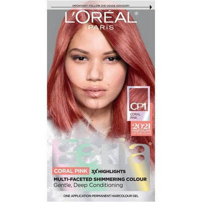 L'Oreal Paris Feria Multi-Faceted Shimmering Permanent Hair Color - Coral Pink CP1 - 1 fl oz