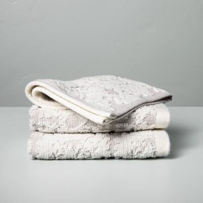 3pk Geo Medallion Washcloth Set Jet Gray - Hearth & Hand™ with Magnolia