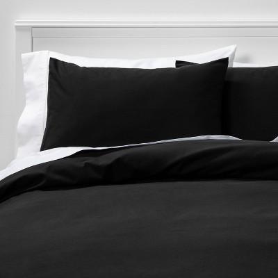Full/Queen Easy-Care Duvet Cover & Sham Set Black - Room Essentials™