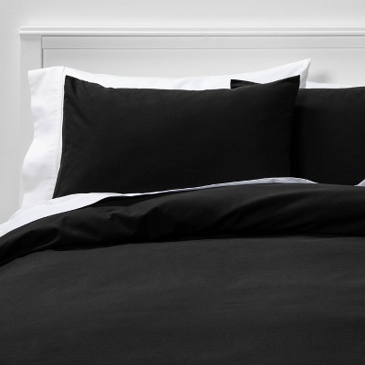 King Easy-Care Duvet Cover & Sham Set Black - Room Essentials™