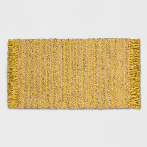 "Yellow Striped Jute Woven Fringed Accent Rug - 2'3""X3'9"" - Opalhouse™ - image 1 of 3"