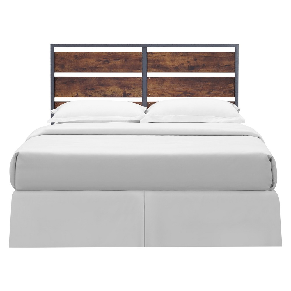 Queen Size Metal and Wood Panel Headboard Brown - Saracina Home