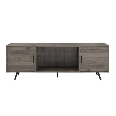 "Modern Glass Shelf and 2 Door Storage TV Stand for TVs up to 80"" Slate Gray - Saracina Home"