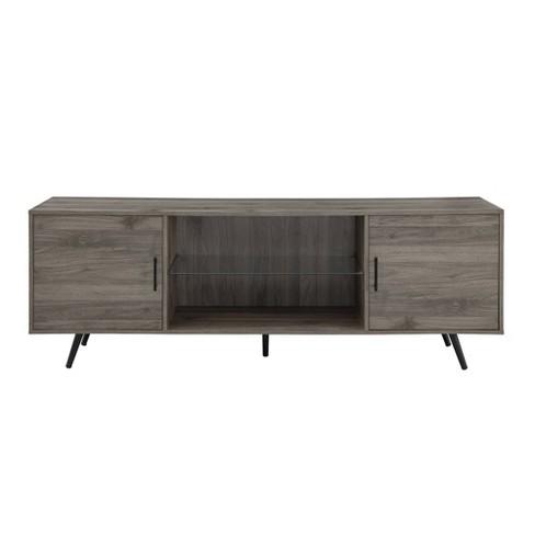 "Modern Glass Shelf and 2 Door Storage TV Stand for TVs up to 80"" - Saracina Home - image 1 of 4"