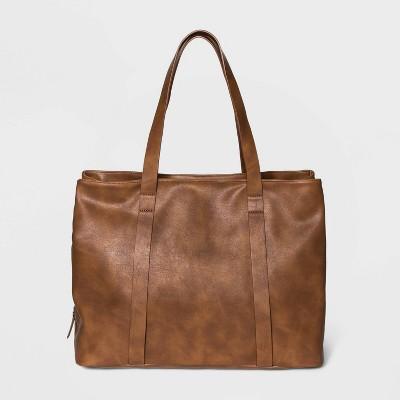 Zip Closure Triple Compartment Tote Handbag - Universal Thread™ Cognac