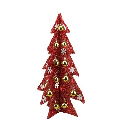 Northlight 2.25' Pre-Lit Slim Tinsel Artificial Christmas Tree - Red Lights