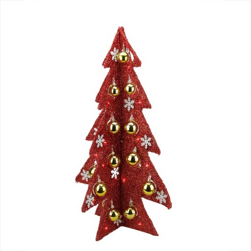 Pre Lit Outdoor Christmas Trees Battery Operated.Northlight 28 Prelit Artificial Christmas Tree Battery Operated Table Top Red Tinsel