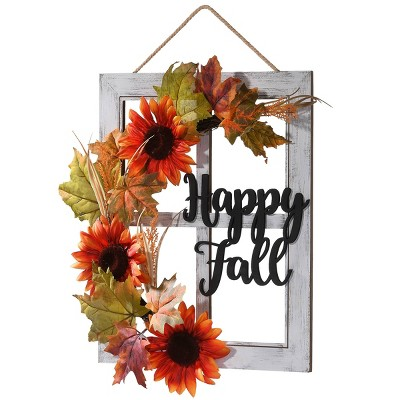 "16"" Happy Fall Wall Sign Halloween Sign - Orange"