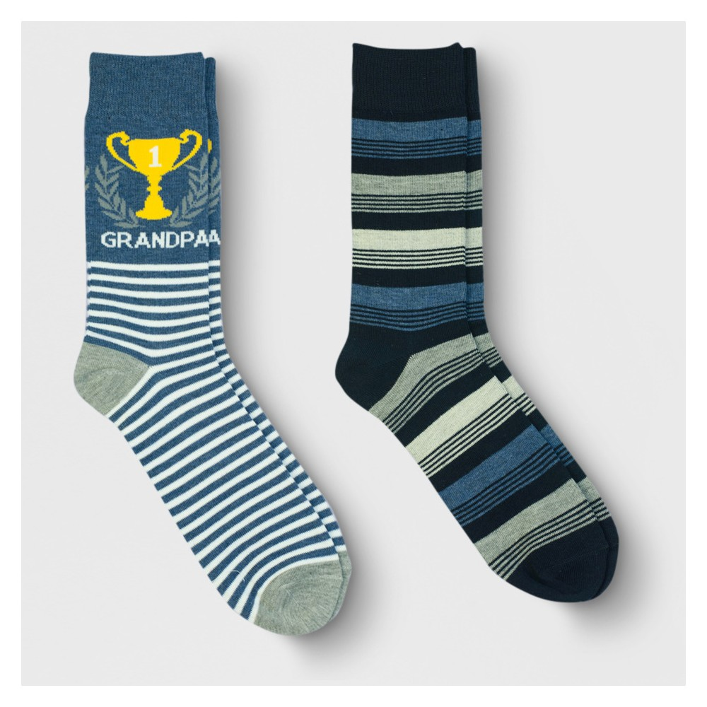 Men's Father's Day Best Grandpa Trophy Dress Socks 2pk - Goodfellow & Co Denim (Blue) 6-12