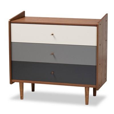 Halden and Gradient Wood 3 Drawer Chest Brown/Gray - Baxton Studio