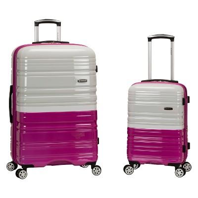 Rockland Melbourne 2pc Expandable Hardside Luggage Set - Magenta/White