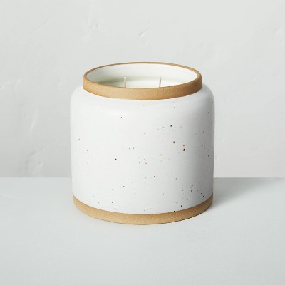 25oz Birch & Amber 3-Wick Speckled Ceramic Seasonal Candle - Hearth & Hand™ with Magnolia
