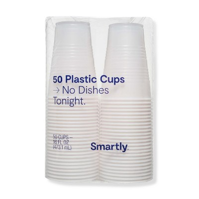Clear Disposable Cup - 16 fl oz - 50ct - Smartly™