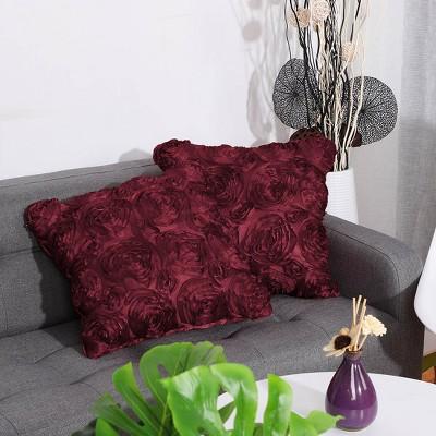 2 Pcs Faux Silk Rose Flower  Decorative Pillow Cover - PiccoCasa