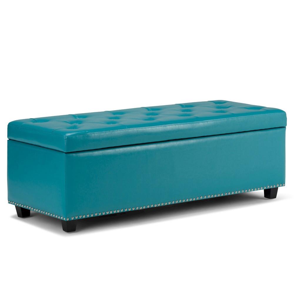 Pleasing Springfield Storage Ottoman Mediterranean Blue Bonded Cjindustries Chair Design For Home Cjindustriesco