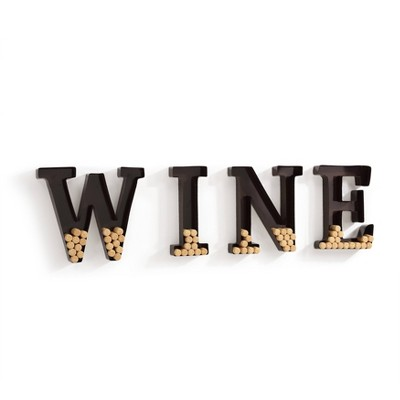 "Wall Mount ""WINE"" Letter Cork Holder Metal Brown - Danya B."