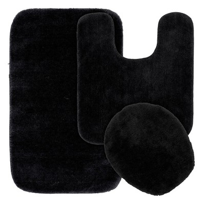 3pc Traditional Washable Nylon Bath Rug Set Black - Garland