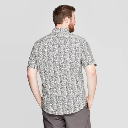 c25755c9 Men's Big & Tall Floral Print Standard Fit Short Sleeve Poplin Button-Down  Shirt - Goodfellow & Co™ Navy