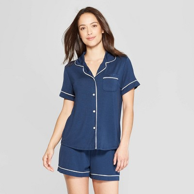Women's Beautifully Soft Short Sleeve Notch Collar Top and Shorts Pajama Set - Stars Above™