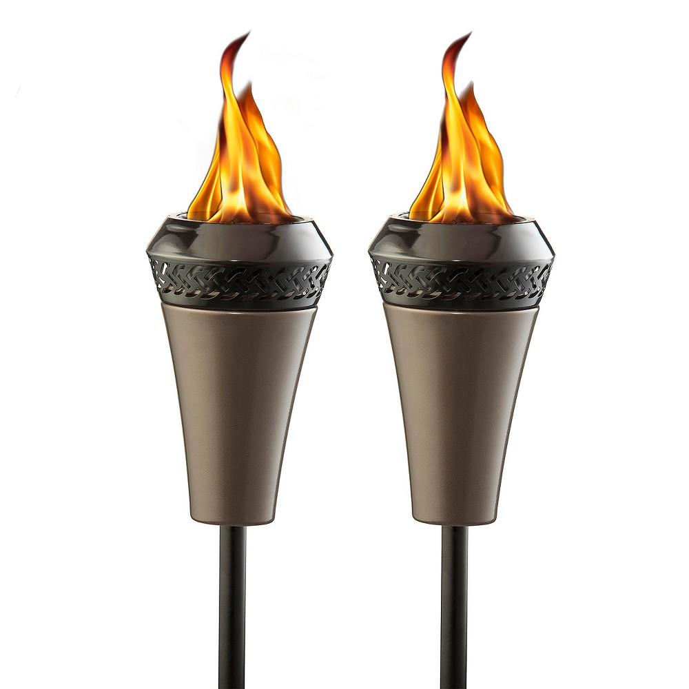 66 Island King Large Flame Torch - Gunmetal Finish 2 Pk - Tiki