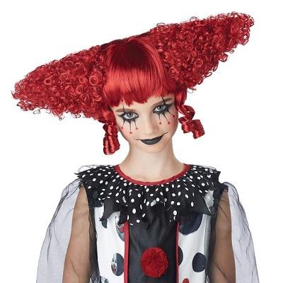 California Costumes Dark Red Creepy Clown Child Costume Wig